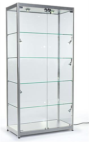 silver aluminum frame locking display case side top lighting. Black Bedroom Furniture Sets. Home Design Ideas