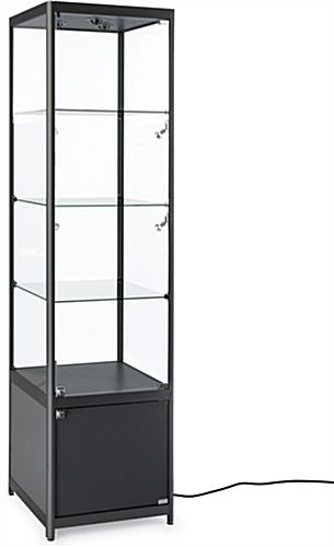 Black Illuminated Tower Display Case