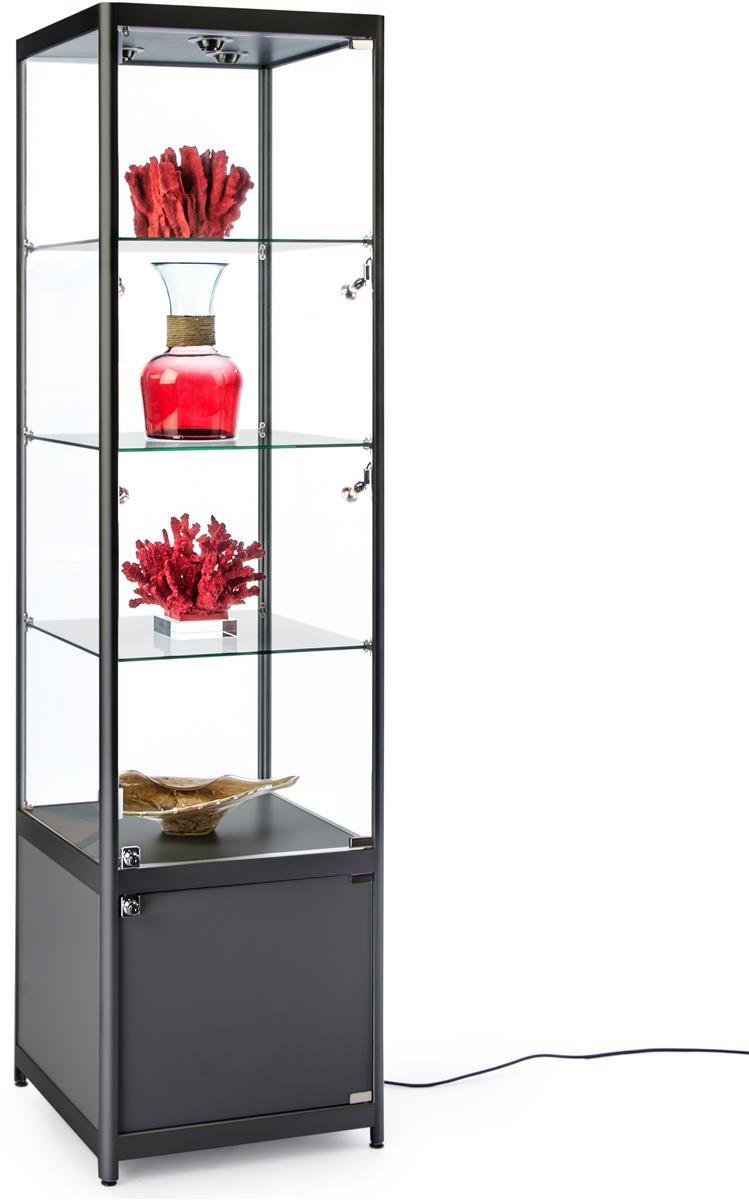 Glass Display Cabinet Showcases: Black Illuminated Tower Display