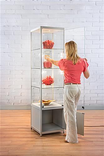 lighted silver tower display case 3 glass shelves. Black Bedroom Furniture Sets. Home Design Ideas
