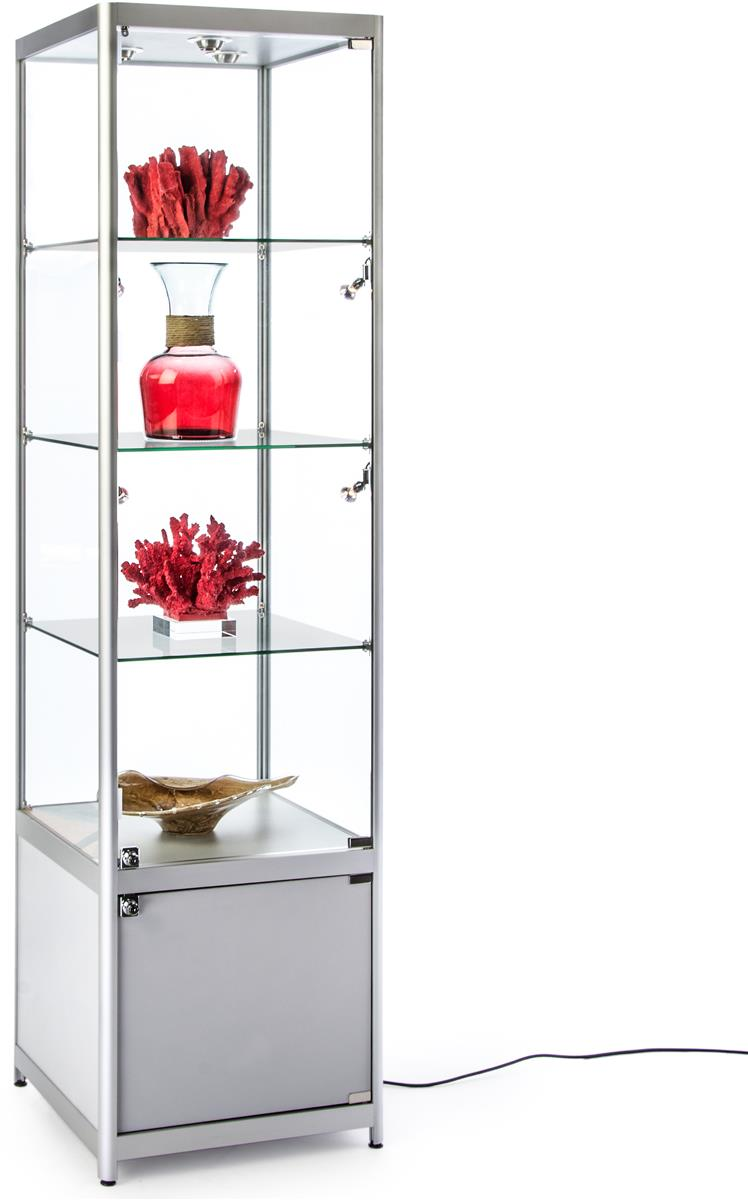 Glass Display Cabinet Showcases: Lighted Silver Tower Display Case
