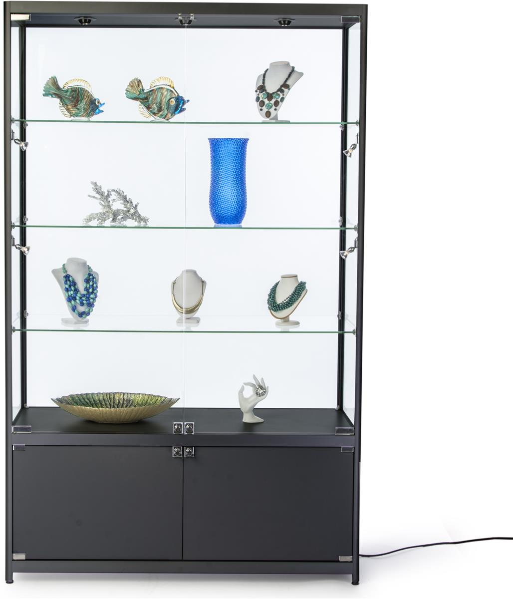 4 Wide Illuminated Display Case 3 Glass Shelves