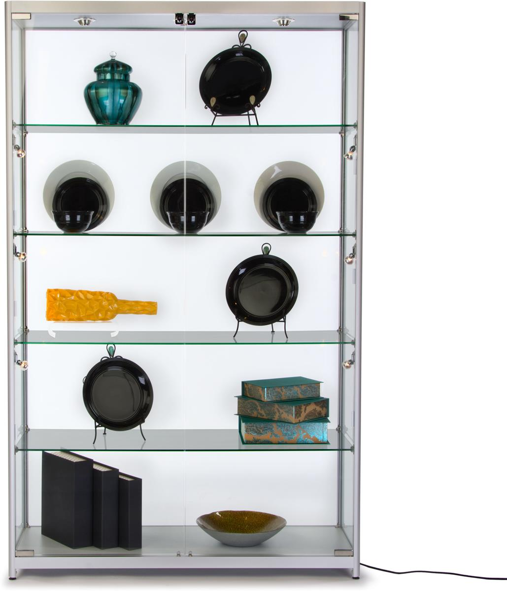 Silver Exhibit Case Curio Cabinet W Tempered Glass Shelves