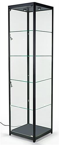 Free Standing Display Case Features, Black Semi-Gloss Aluminum Frame And (6) Halogen Lights
