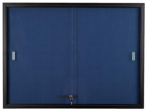 Blue Fabric Bulletin Board Glass Doors With Locking System