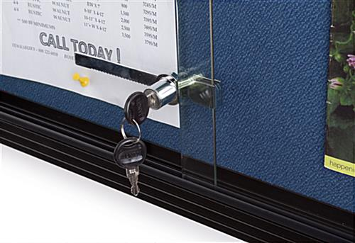 Blue Fabric Bulletin Board with Lock and Key