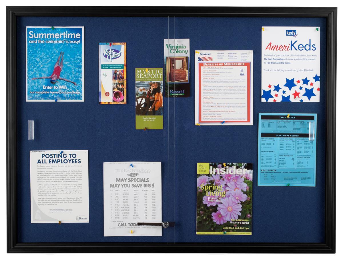 48 X 36 Enclosed Bulletin Board W Sliding Doors Locking Black W Blue Fabric