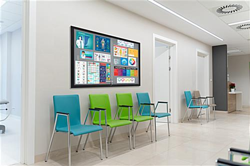 Aluminum frame bulletin board with medical information for patient waiting room