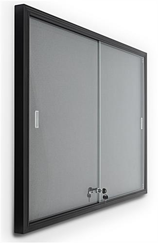 Aluminum frame bulletin board with sliding tempered glass doors