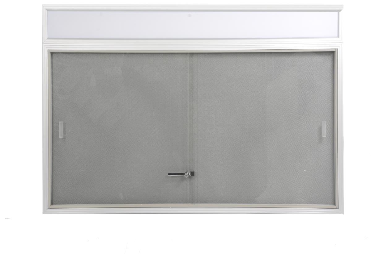 4 X 3 Enclosed Bulletin Board Gray Fabric Sliding