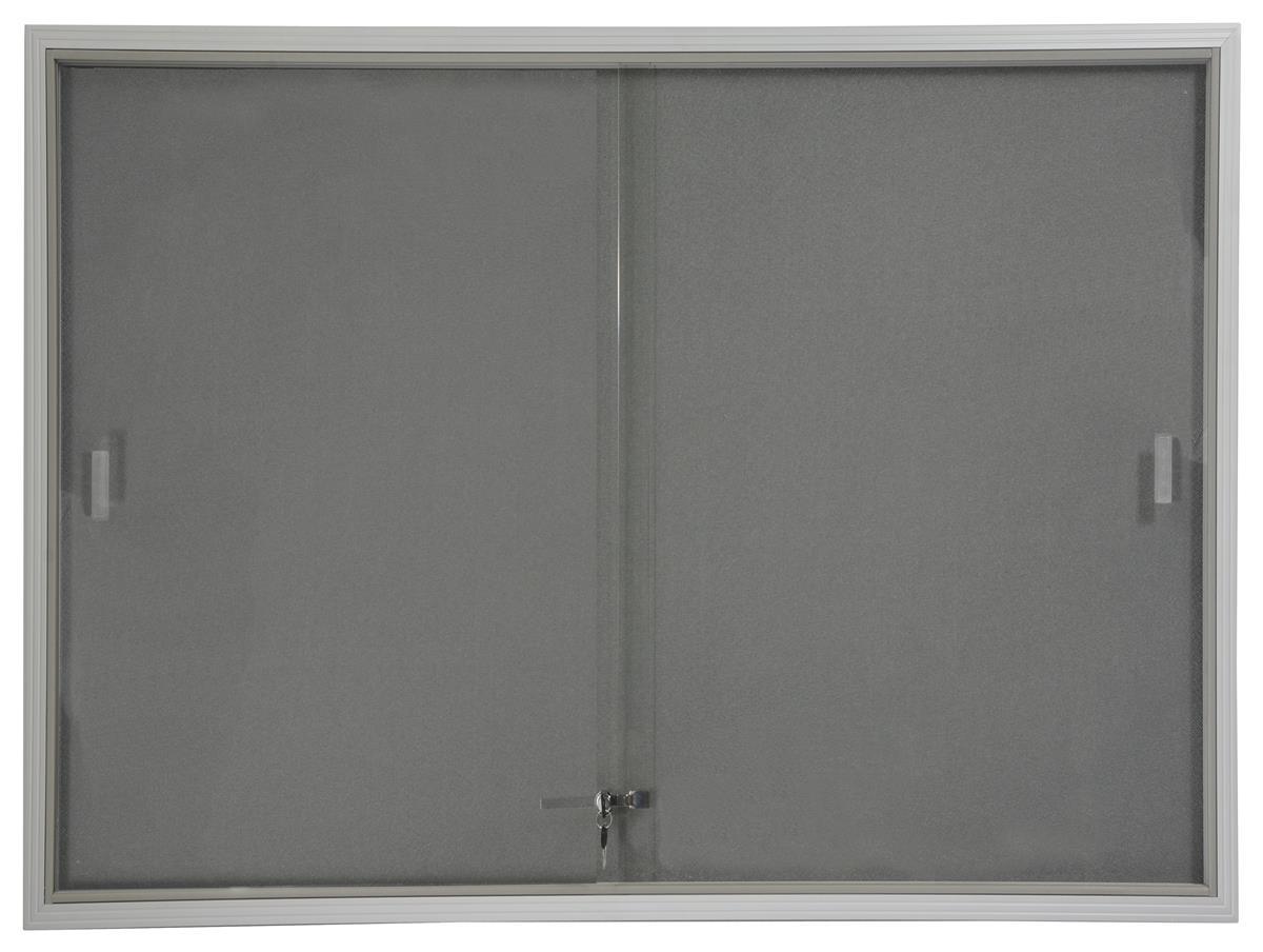 4 X 3 Glass Bulletin Board W Gray Fabric Interior