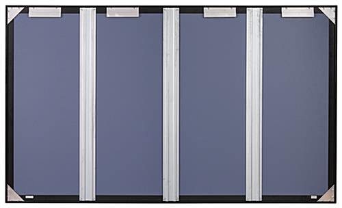 Glass enclosed notice board with aluminum frame and back brackets for indoor wall mounting