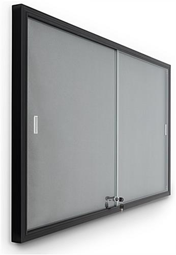 Glass enclosed notice board with aluminum frame and locking mechanism