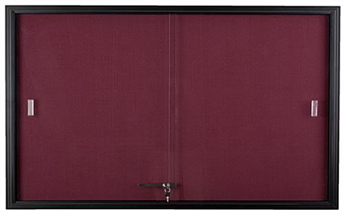 Maroon Fabric Tack Board with Tempered Glass