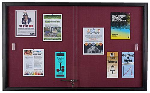 Maroon Fabric Tack Board with Sliding Glass Doors