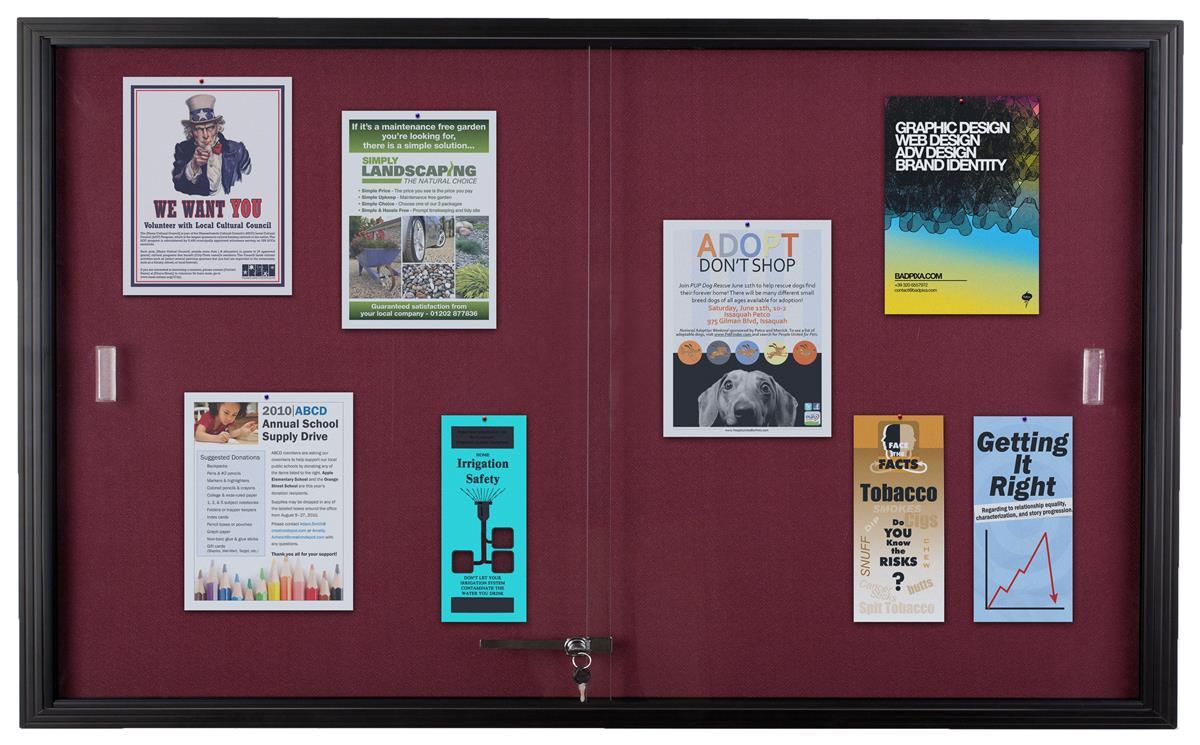 60 X 36 Enclosed Bulletin Board W Sliding Doors Locking Black W Maroon Fabric