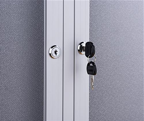 Indoor enclosed bulletin board cabinet with set of two keys