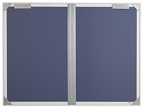 Indoor enclosed bulletin board cabinet with brackets for indoor wall mounting