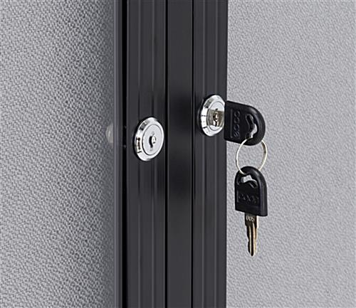 Polycarbonate notice board with set of two keys