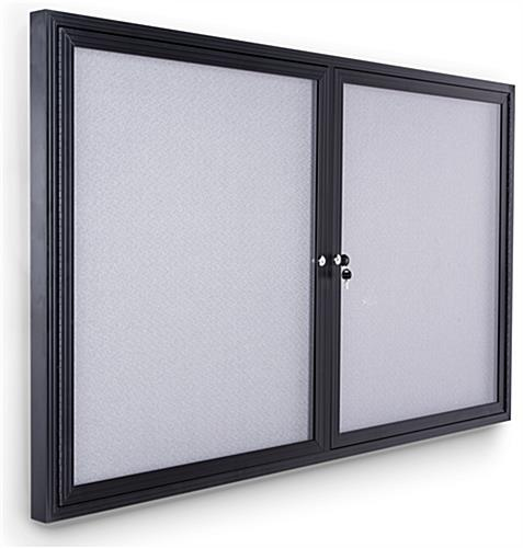 Polycarbonate notice board with black anodized aluminum frame