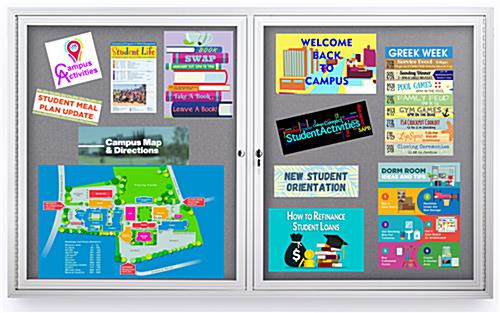 Enclosed polycarbonate bulletin board with large surface area