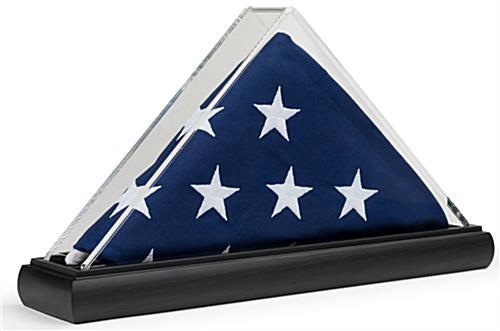 Clear triangle acrylic US flag box for 3 x 5 folded banners