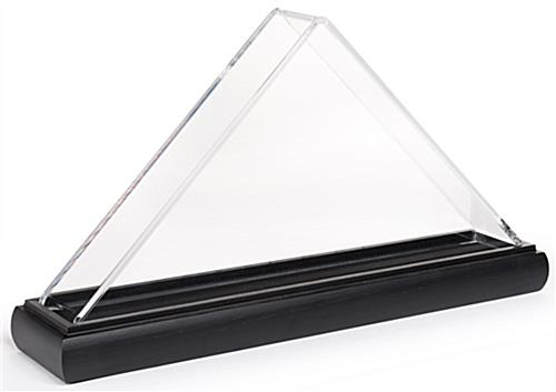 Clear triangle acrylic US flag box with black base
