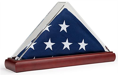 Acrylic triangle clear US flag case for 3 x 5 folded banners