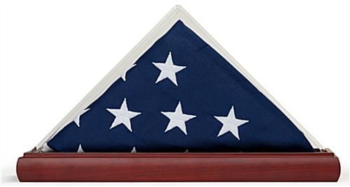 Acrylic triangle clear US flag case with solid oak base