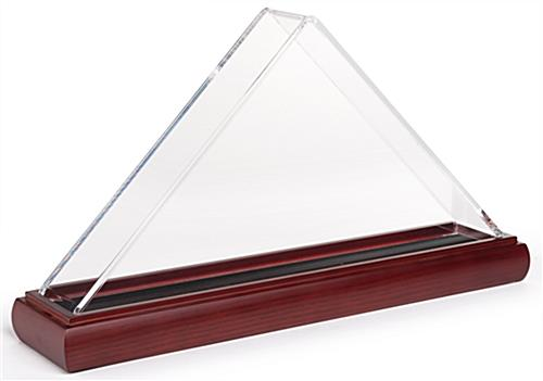 Acrylic triangle clear US flag case for 3' x 5' banners