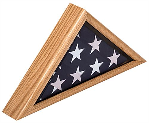 American-Made 3' x 5' Oak Flag Display Case with Traditional Military Look
