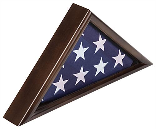 American-Made 3' x 5' Walnut Flag Display Case with Classic Look