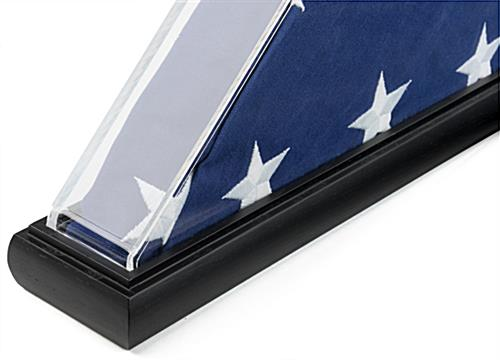 Clear triangle acrylic US flag box with wooden base and black finish