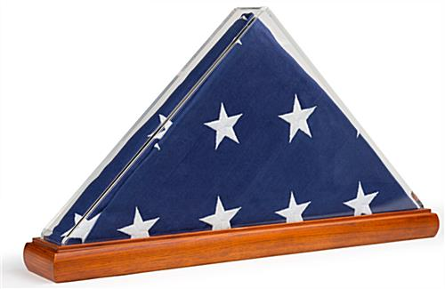Folded flag holder clear acrylic with transparent frame and solid oak base