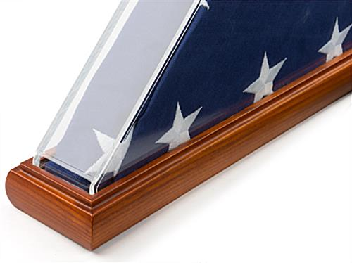 Folded flag holder clear acrylic with cherry stained solid oak base