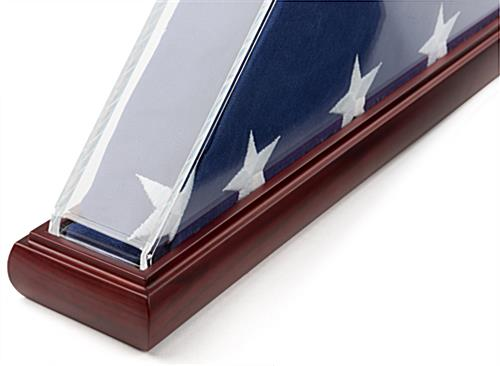 Acrylic triangle clear US flag case with mahogany base and felt lining
