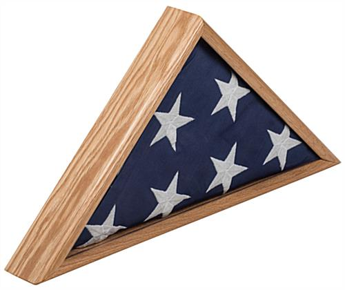 American-Made 5' x 9.5' Oak Flag Case Made with Solid Wood