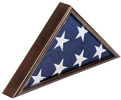 American-Made 5' x 9.5' Walnut Flag Case Glass Front Lens