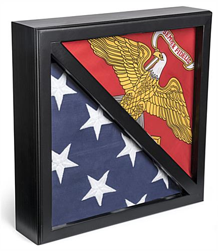 2-Flag Military Display Case with Tempered Glass Front