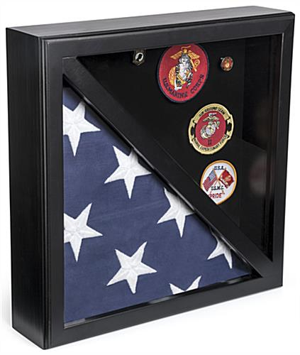 2-Flag Military Display Case with Rear Loading Design