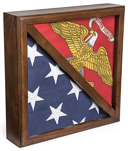 2-Flag Display Case with Cherry Finish