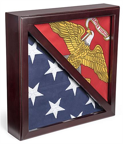 Dual Flag Commemorative Military Frame with Mahogany Finish