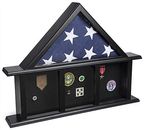 3-Bay Memorial Mantle Flag Display with 4 Shadow Box Sections