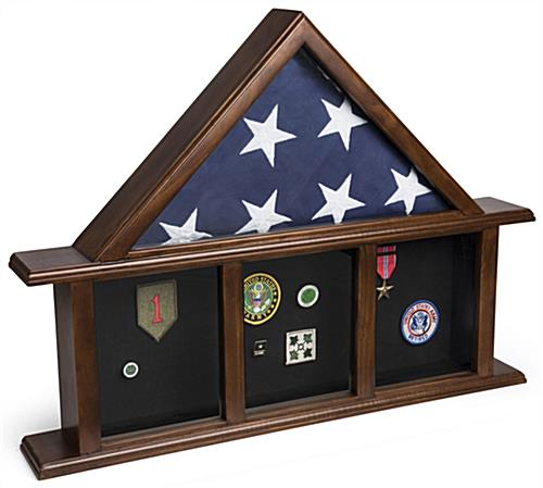 3-Bay Mantle Flag Display Case with 4 Shadow Box Sections