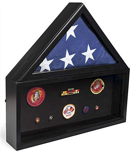 Flag and Memorabilia Commemorative Case with Medals in Base