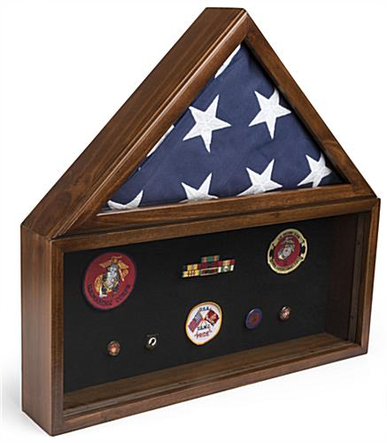 Flag and Memorabilia Commemorative Shadow Box Holds Banner and Patches