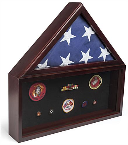 Flag and Memorabilia Commemorative Display Case with Tempered Glass Front
