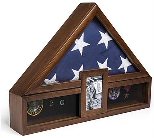 Ceremonial Flag Display with Photo Frame for 5 x 7 Pictures