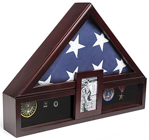 Flag Shadow Box with Picture Frame and Tempered Glass Front