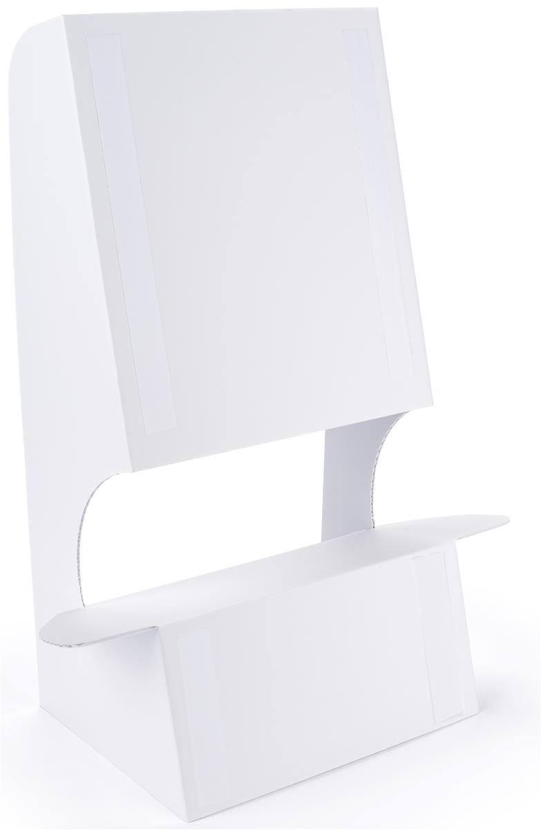 Double wing cardboard floor easel with double sided mounting tape